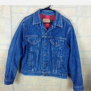Levis Buffalo Plaid Lined Denim Jacket 42R Vintage